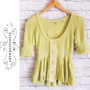 Anthropologie Knitted and Knotted Chartreuse Top